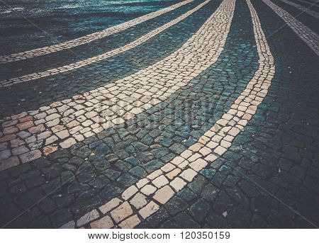 Close up of a cobblestones on a street