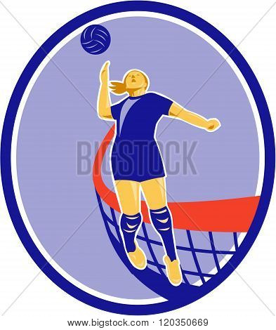 Volleyball Player Spiking Ball Oval Retro