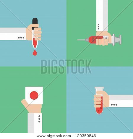 Modern Set Medical blood analysis flat design
