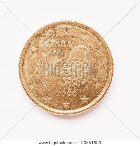 Spanish 50 Cent Coin Vintage