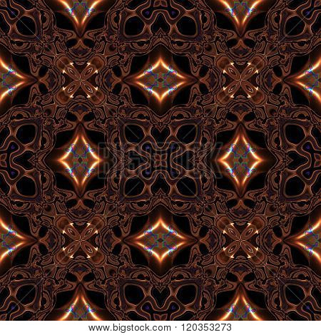 Abstract Complicated Viking Or Celtic Like Metallic Bronze Pattern Made Seamless