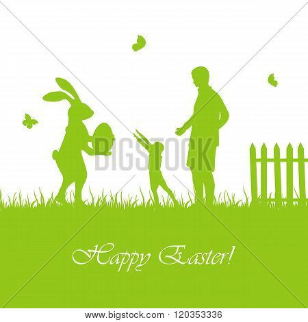 Easter Rabbit And Child With Father