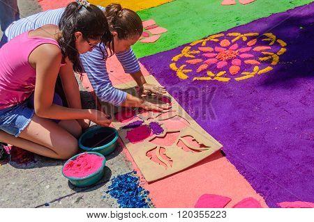 Making Holy Week Carpet With Stencil, Antigua, Guatemala