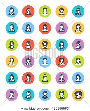 Women Avatars Icons - Dot Version