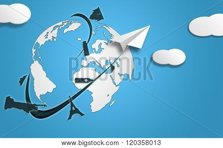 Plane Visiting Tourist Cities In The World Tourism Concept