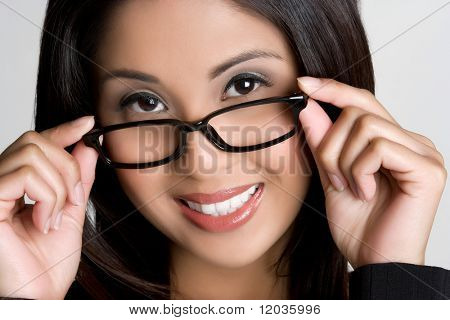 Asian Woman Wearing Eyeglasses