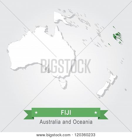 Fiji. Australia and Oceania map.