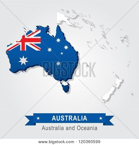 Australia. Australia and Oceania map.
