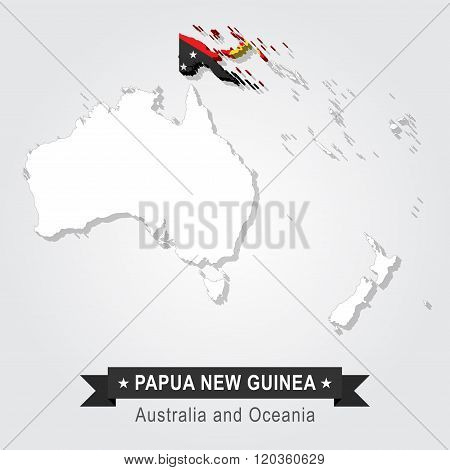 Papua New Guinea. Australia and Oceania map.