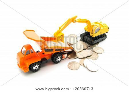 Coins, Truck And Backhoe