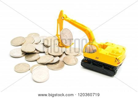 Russian Coins And Yellow Backhoe
