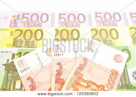 Different Euro Banknotes And Russian Banknotes