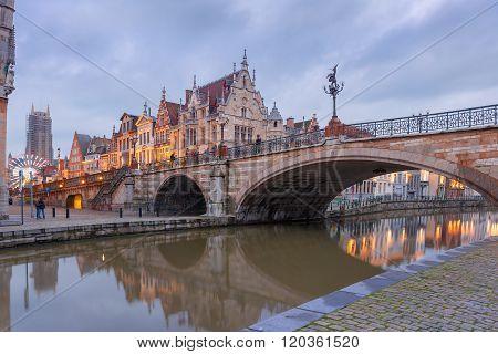 St. Michael Bridge in Ghent, Belgium