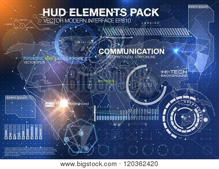 HUD background outer space. infographic elements. futuristic user interface. Vector science Polygonal background. Futuristic HUD background. Vector science background. Communication abstract