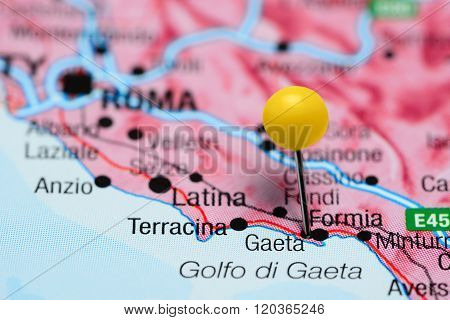 Gaeta pinned on a map of Italy