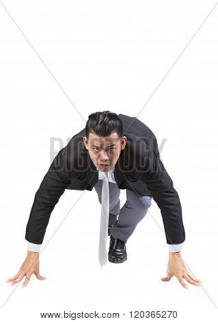 Asian Business Man Acting Like Runner Athlete In Start Patform Isolated White Background Use For Spe