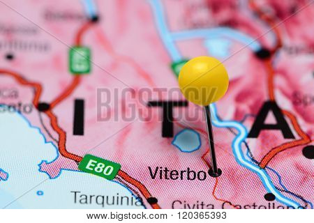 Viterbo pinned on a map of Italy