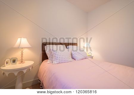 Children's girl's bright pink bedroom. Interior design.