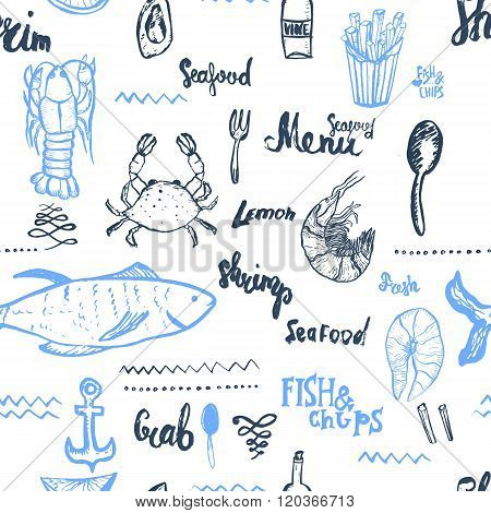 Vector seafood background. Seamless seafood background. Vector Seamless seafood background isolated