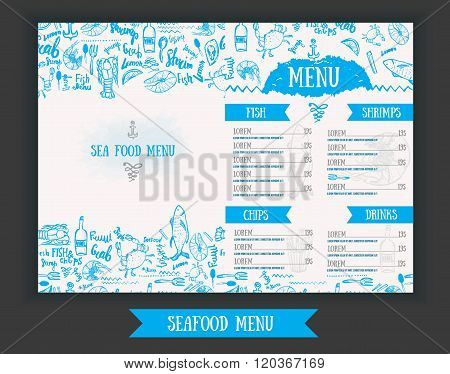 Vector modern seafood menu design. Hand drawn seafood menu. Great for seafood menu flyer, card, seaf