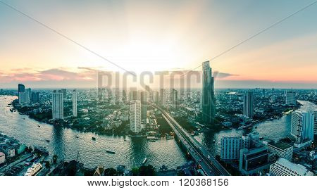 Panoramic View Of Bangkok City Riverfront Skyline Cityscape In Thailand.