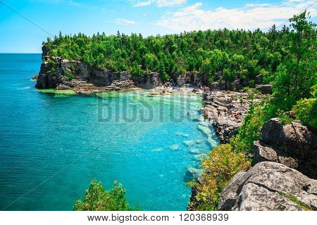 Gorgeous amazing natural rocky beach view and tranquil azure clear water