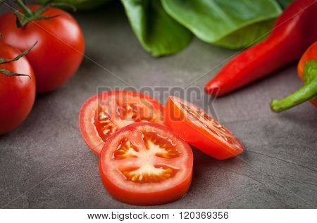Truss Tomatoes Slices Closeup