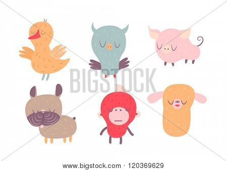 A vector illustration of sleepy animals and birds set Good Night