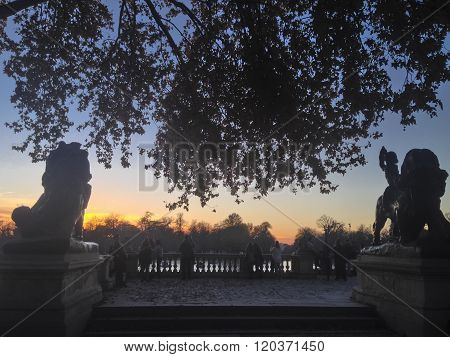 Monument To King Alfonso Xii At Famous Retiro Park At Dusk