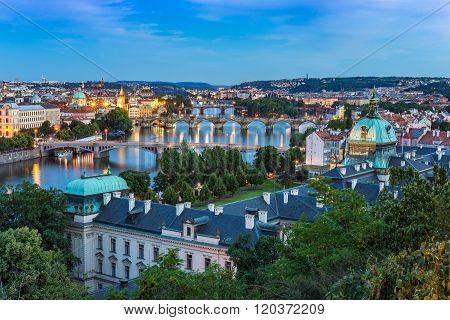 Panorama Of Prague City Skyline , Czech Republic