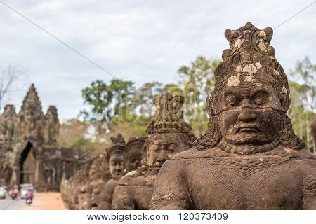 Statue At Gate Of Angkor Thom , Siem Reap , Cambodia