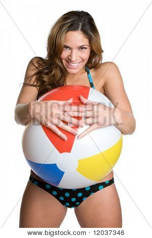 Playful Girl Holding Beach Ball