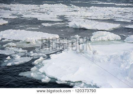 Abashiri Ice Drift In Cold Ocean Near Japan