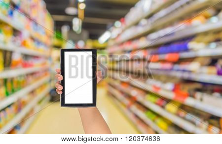 Blurred Image Of S Grocery Store For Background Usage .