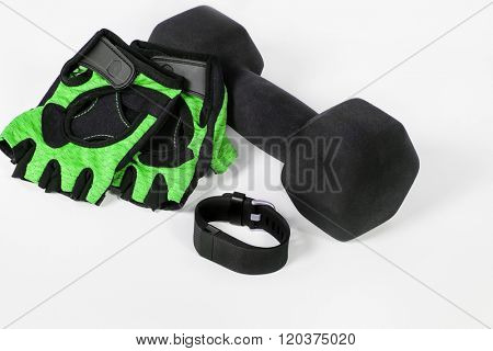 Activity Fitness Tracker with Lifting Gloves & Dumbbell