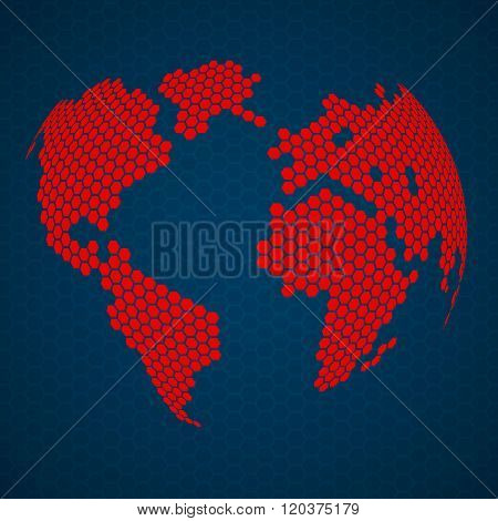 Abstract globe earth of hexagons