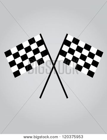 A vector illustration of crossed racing flags