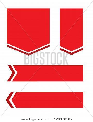 Vector red pennant, banner and frame set