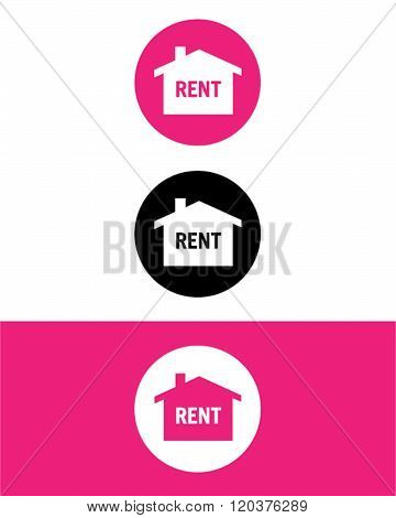 Vector Real Estate Rent Icon Set in Colour, Black and Reverse