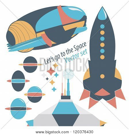 Spaceship, Rocket And Spase Station With Robots Vector Set Illustrations.