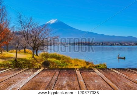 Wood Table And Blur Image Of
