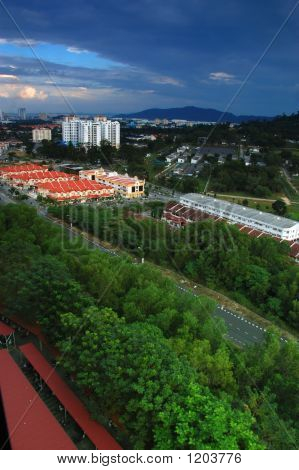 landscape of a city in penang island malaysia.