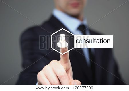 business, technology, internet and networking concept - businessman pressing consultation button on
