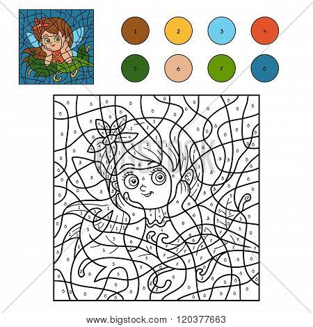 Color By Number For Children (little Fairy)