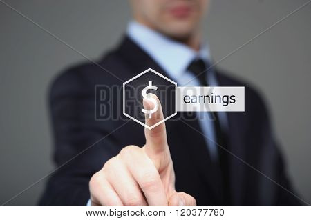business, technology, internet and networking concept - businessman pressing earnings button on virt