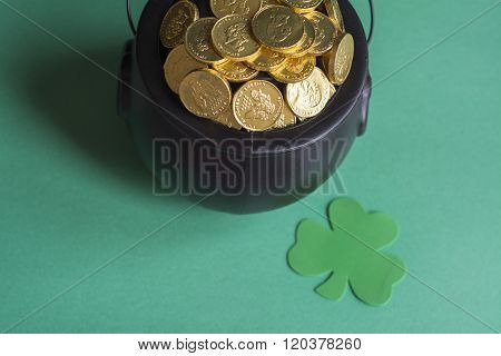 leprechaun gold and green shamrock