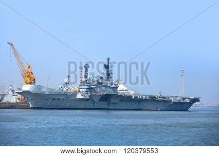 MUMBAI, INDIA - December 6, 2015 : Indian Navy ship at Arabian sea coast near Mumbai,  India.