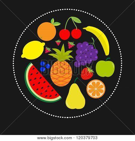 Juicy Ripe Fruit And Berry Set. Banana Cherry Strawberry Orange Pineapple Grape Lemon Cherry  Waterm