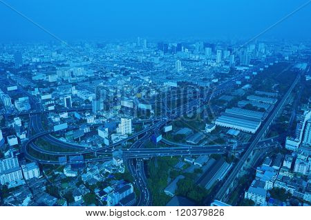 Aerial View Of Cityscape Expressway And Highway, Blue Tone, Bangkok Thailand