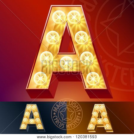Fantastic vector  light up font with lamp. Letter A